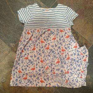 EUC - Baby Boden - Flamingo Dress - 18-24 Mos